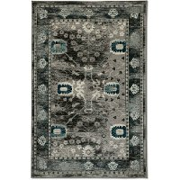 5 x 8 Medium Gray and Blue Rug - Vintage