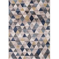 8 x 11 Large Ivory, Gray, Purple, and Blue Rug - Olympus