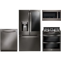 BSS-4PC-GAS-PACKAGE LG 4-piece Kitchen Appliance Package with Gas Range - Black Stainless Steel