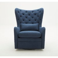 Navy Wingback Swivel Chair With Kidney Pillow - Alice
