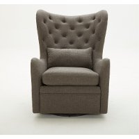 Charcoal Wingback Swivel Chair With Kidney Pillow - Alice