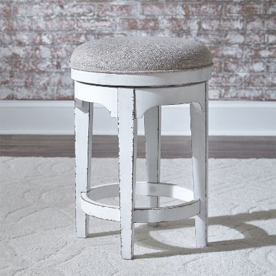 Antique White Upholstered Swivel Counter Height Stool - Magnolia Manor