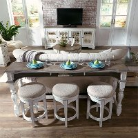 Antique White Console Bar Table and Stools - Magnolia Manor
