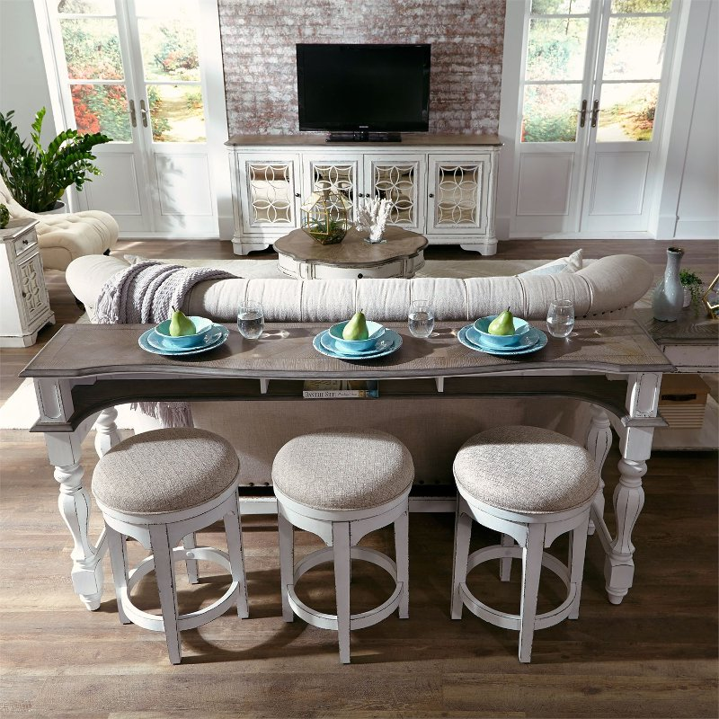 Antique White Console Bar Table And