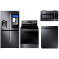 4PC-BSS-ELECTRIC PACKAGE Samsung 4 Piece Kitchen Appliance with Electric Range - Black Stainless Steel