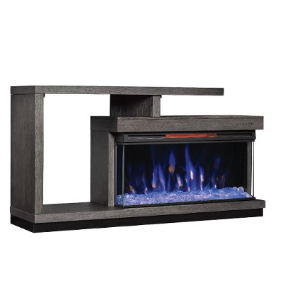 60 Inch Oak Panoramic Fireplace TV Stand - Wright
