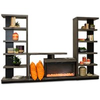 3 Piece Oak Modern Fireplace Entertainment Center - Wright