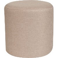 Contemporary Beige Round Ottoman Pouf - Barrington