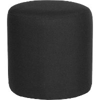 Contemporary Black Round Ottoman Pouf - Barrington