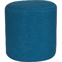 Contemporary Blue Round Ottoman Pouf - Barrington