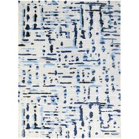 PRL97696 8 x 10 Large Ivory and Blue Rug - Perla