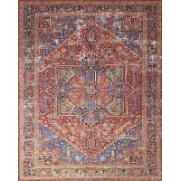 5 x 8 Medium Red and Blue Rug - Lucca