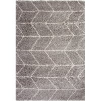 5 x 8 Medium Herringbone Gray and Ivory Area Rug - Elements