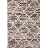 8 x 11 Large Brown, Beige, Ivory, and Teal Area Rug - Granada