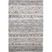 8 x 11 Large Beige, Ivory, and Charcoal Gray Area Rug - Granada