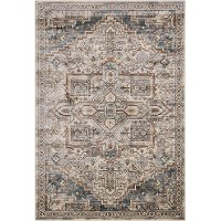 8 x 11 Large Ivory, Blue, and Beige Area Rug - Sonoma