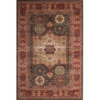 5 x 8 Medium Chocolate Brown, Ivory, and Red Area Rug - Sonoma