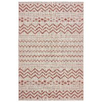 5 x 8 Medium Beige and Red Indoor-Outdoor Rug - Sun Shower