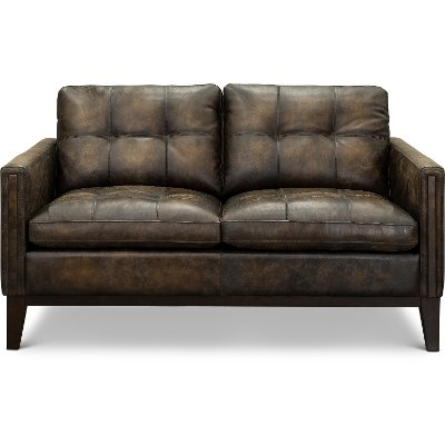 Contemporary Antique Brown Leather Loveseat - Montana