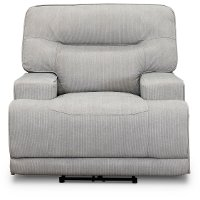 Casual Contemporary Sterling Light Gray Power Recliner - Stanza