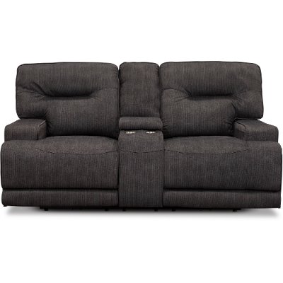 Charcoal Gray Power Reclining Loveseat - Stanza