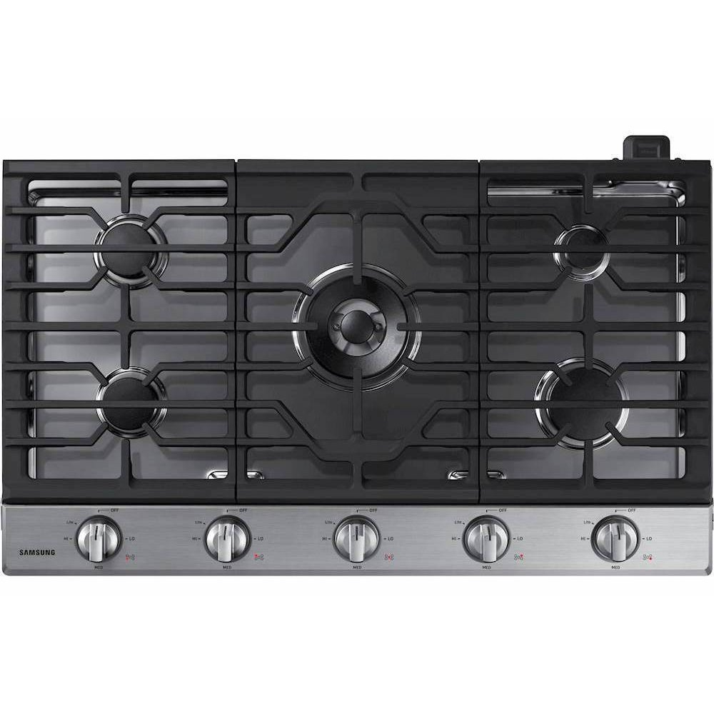 Samsung 36 Inch Smart Gas Cooktop With Griddle Stainless Steel Rc Willey Furniture