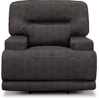 Casual Contemporary Charcoal Gray Power Recliner - Stanza