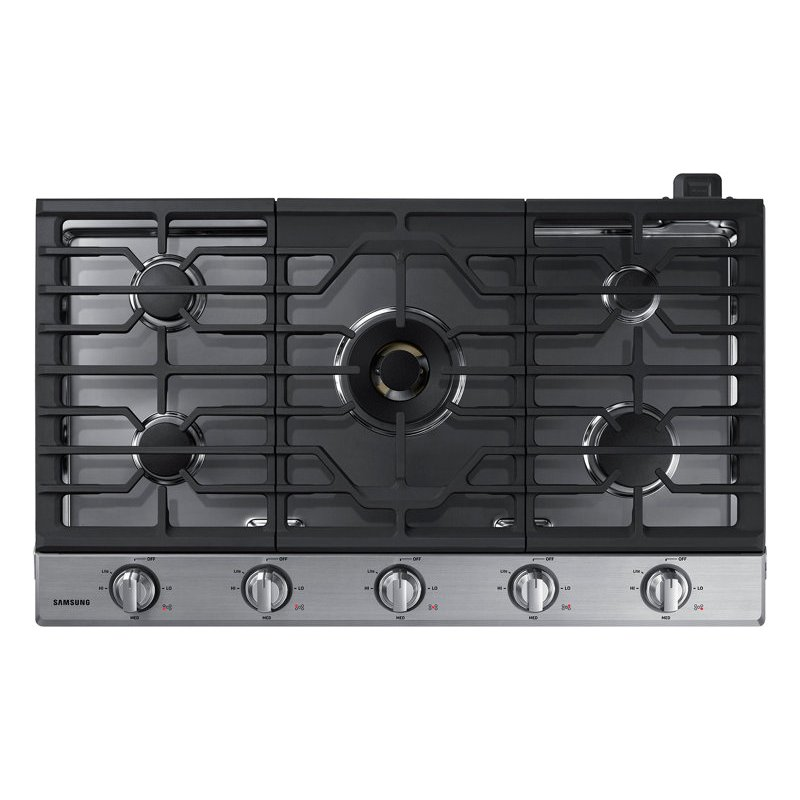 Na36n7755ts Samsung 36 Inch Smart Gas Cooktop With 22k Btu Dual Burner Stainless Steel