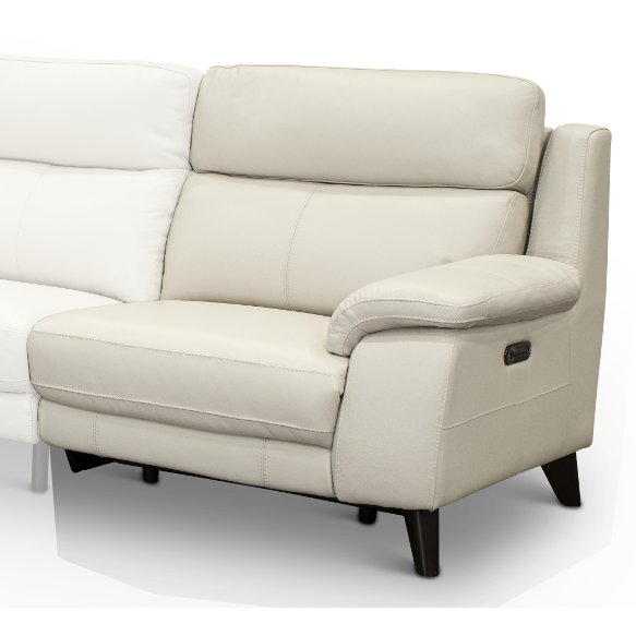 Frost White Leather Match Right Arm Facing Power Recliner Venice