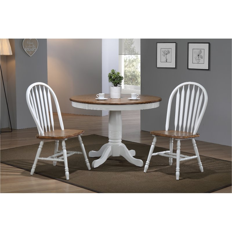 Brown And White Country 3 Piece Round Dining Set Pacifica Rc Willey Furniture