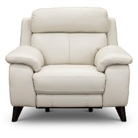 Frost White Leather-Match Power Recliner - Venice