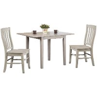 Light Gray Wood 3 Piece Dining Set with Rake Back Chairs - Carmel