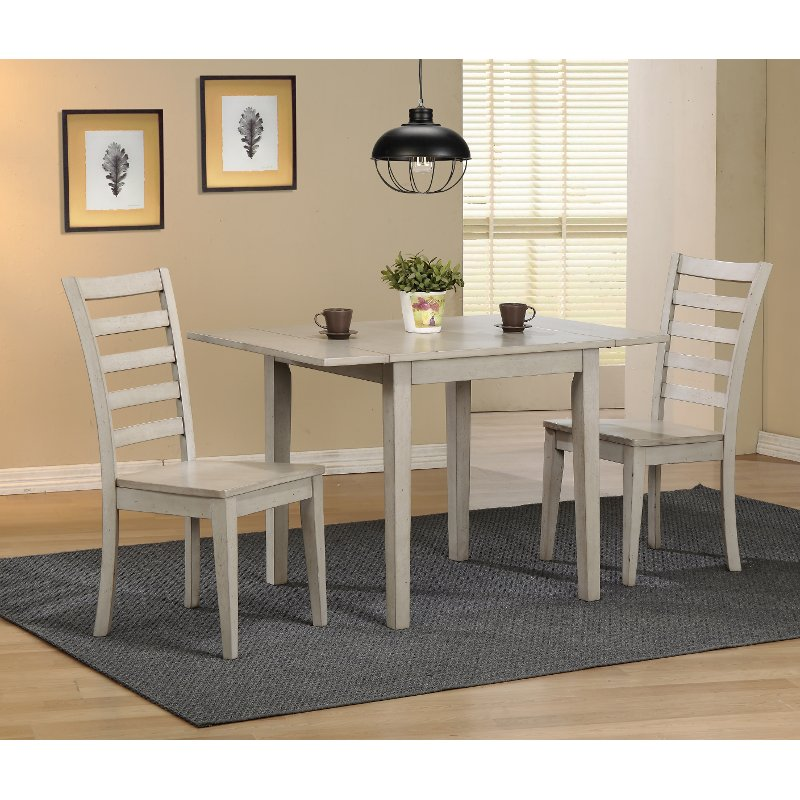 Light Gray Rustic 3 Piece Dining Set with Ladder Back Chairs ...