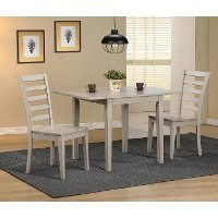 Light Gray Rustic 3 Piece Dining Set with Ladder Back Chairs - Carmel