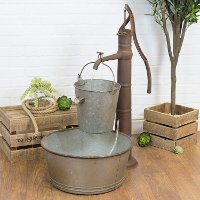 Outdoor Rust Brown and Gray Metal Water Fountain