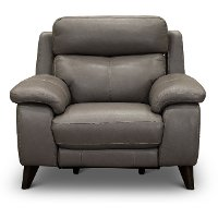Elephant Gray Leather-Match Power Recliner - Venice