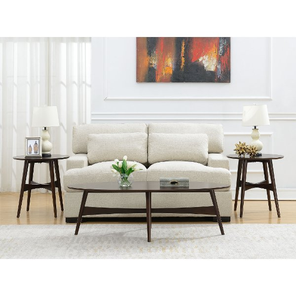 Cherry 3 Piece Coffee And End Table Set