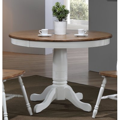 Modern Two-Tone Brown and White Round Dining Table - Pacifica
