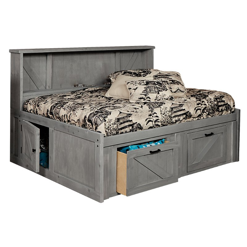 Rustic Gray Full Roomsaver Storage Bed