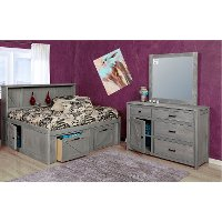 Rustic Gray 4 Piece Full Storage Bedroom Set - Urban Ranch