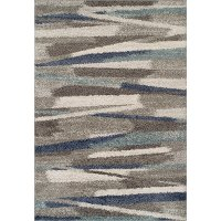 8 x 10 Large Transitional Gray and Blue Shag Rug - Rocco