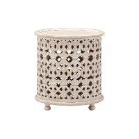Contemporary White Round End Table - Marguerite