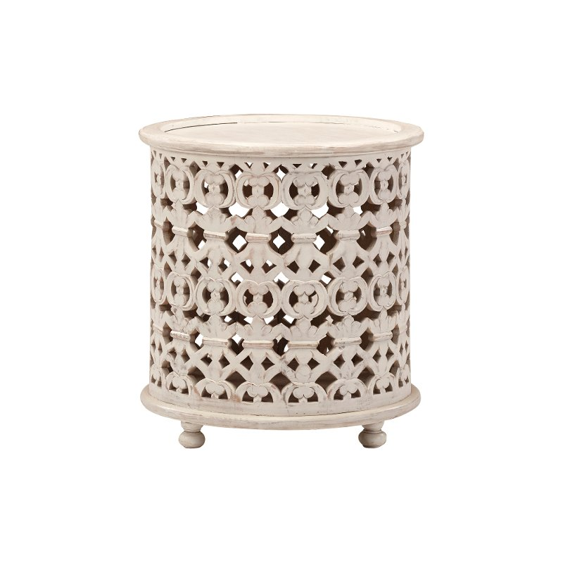 Contemporary White Round End Table