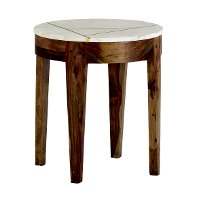 Brown and White Marble End Table - Marmoreal