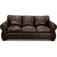 Traditional Brown Leather Sofa Bed - Molasses