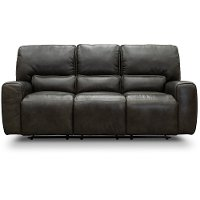 Charcoal Gray Leather-Match Triple Power Reclining Sofa - Madrid