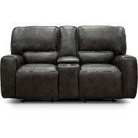 Charcoal Gray Leather-Match Power Reclining Loveseat with Console - Madrid
