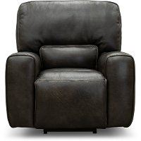 Charcoal Gray Leather-Match Power Recliner - Madrid