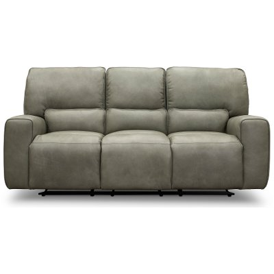 Gray Leather-Match Triple Power Reclining Sofa - Madrid
