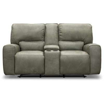 Gray Leather-Match Power Reclining Loveseat with Console - Madrid